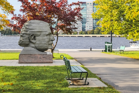 Arthur Fiedler head statue in Back Bay Boston during daytime