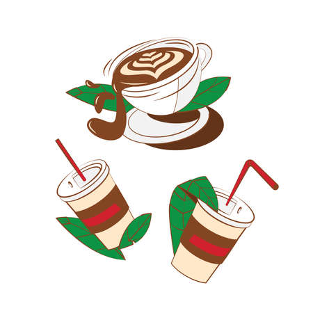 Cup of coffee icon set vector illustration