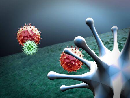 macrophage kills the viruses, 3d rendered macrophage and virus, inside human body, Medical video background, viruses in the human body