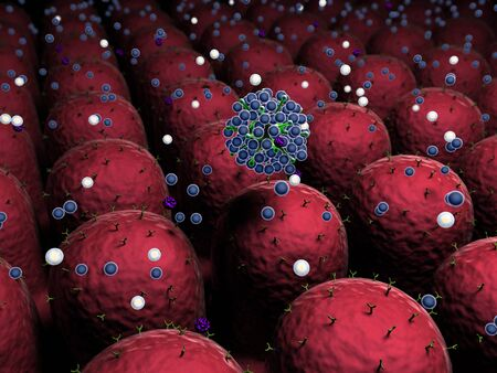 field of cells with receptors, Human Immune System attack the virus, virus attack the cells Stock Photo