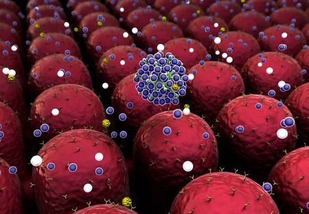 field of cells, field of cells with receptors, Human Immune System attack the virus