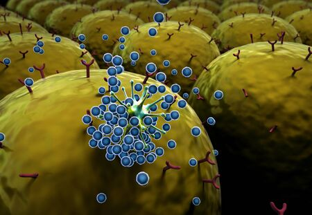 field of cells, field of cells with receptors