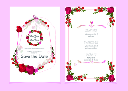 Wedding invitation with tulips, thank you card, I love you. Botanical Floral background. Vector illustration