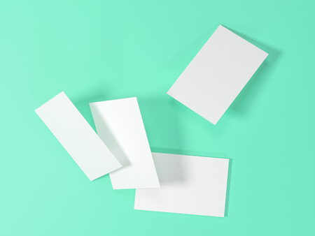 render 3d images of business cards dynamically scattered on a turquoise background.