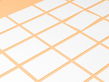 render 3d images of business cards dynamically scattered on a peach background.