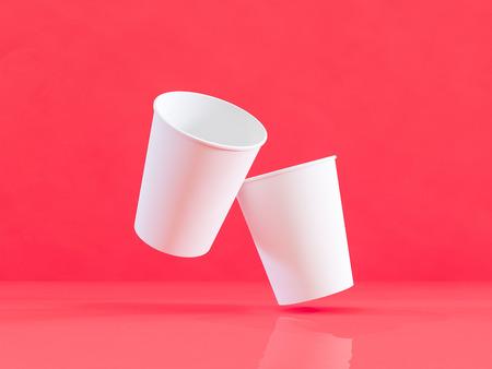d3814ea2425be  98139375 - 3d model of paper cups on the plane under natural light. Red  background. 3d renderer.