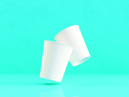 3d model of paper cups on the plane under natural light. Turquoise background. 3d renderer.
