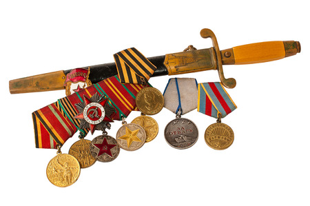 cutlass: Orders, Medals and cutlass officer on a white background Stock Photo