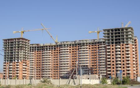 High-rise residential complex under construction Stock Photo
