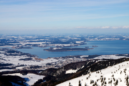 oft: Chiemsee is a freshwater lake in Bavaria, Germany, between Rosenheim, Germany, and Salzburg, Austria. It is oft called the Bavarian Sea. Stock Photo