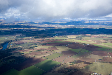 lowlands: Aerial photo, taken During a flight over the lowlands of scottland in February. Stock Photo