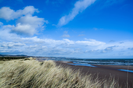 german ocean: East Coast Scotland, England, photo taken in February with windy wheather. Stock Photo