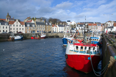 Pittemweem, harbour at the east coast of Scotland, UK, in February.