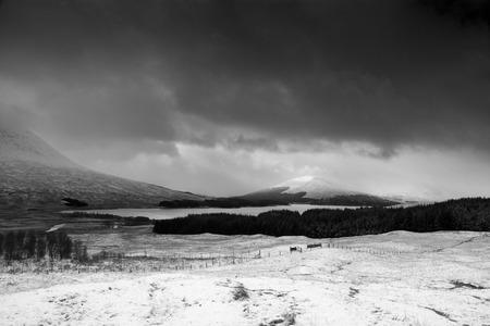 glencoe: Glencoe Valley at the Scottish Highlands in February. Stock Photo