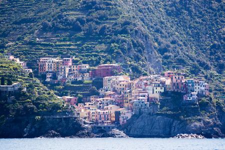 cinque: Manarola, one of five villages at the Cinque Terre, Italy.