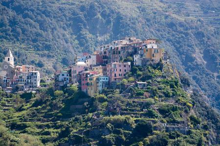 costal: Corniglia, one of five villages at the Cinque Terre, Italy.
