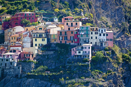 costal: Manarola, one of five villages at the Cinque Terre, Italy.