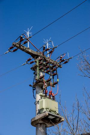 powerline: Power supply with line transformer, photo taken in Bavaria.