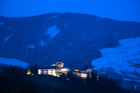 nightshot: Night photo of Mittersill Palace, located in the district of Pinzgau, Austria. Stock Photo
