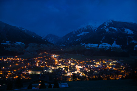 nightshot: Night photo of the town of Mittersill, Pinzgau located in the district, Austria.