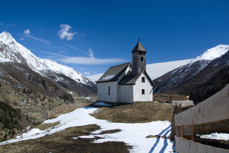 east end: Chapel at the altitude of approx. 1400m at the end of the Valley Virgen East Tyrol Austria. Stock Photo
