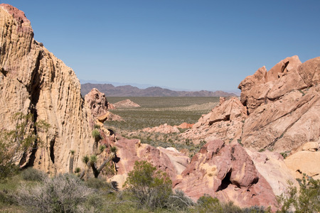 backcountry: Whitney Pocket is a small area of striped sandstone rocks at the Gold Butte Backcountry Byway. Stock Photo