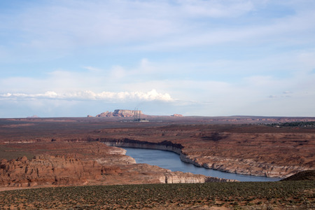 lake powell: Lake Powell is a water reservoir in the USA and is located approx. 350 km northeast from Las Vegas. Stock Photo