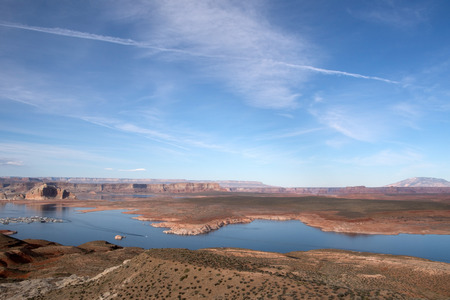 approx: Lake Powell is a water reservoir in the USA and is located approx. 350 km northeast from Las Vegas. The only city at the lake is Page. Stock Photo