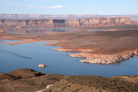 approx: Lake Powell is a water reservoir in the USA and is located approx. 350 km northeast from Las Vegas. Stock Photo