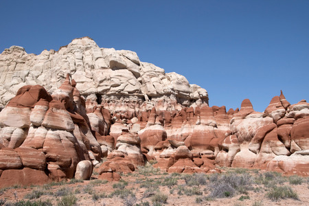 The socalled Blue Canyon is located south east of Tuba City in the Moenkopi Wash Arizona USA. 스톡 콘텐츠