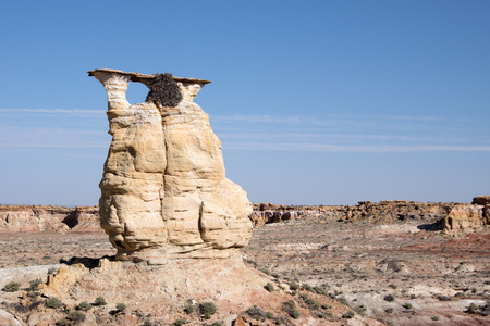 eagle nest rock: Yellow Eagle Arch in the Badlands in Arizona USA.