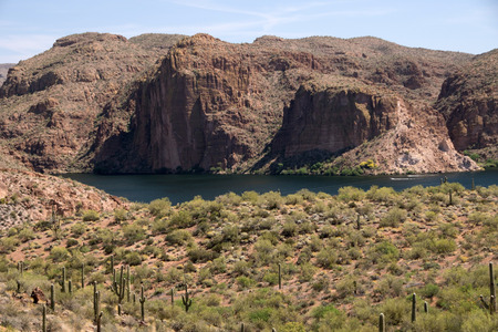 The Theodore Roosevelt Lake in Arizona USA is a water reservoir Which is filled by the Salt River and Tonto Creek.