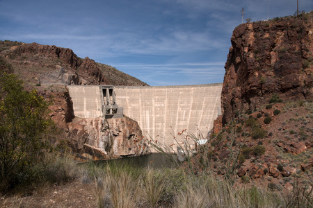 The Theodore Roosevelt Dam is a dam on the Salt River and Tonto Creek located north east of Phoenix Arizona USA