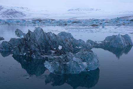 igneous: Joekulsarlon, glacier and lake at Iceland in December.