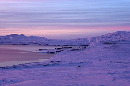 december sunrise: Sunrise at Valley Haukadalur, Iceland, near Raykiavik. Stock Photo