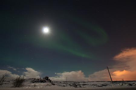 polar light: Aurora Borealis, foto tomada en diciembre en Islandia. Foto de archivo