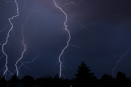 ball lightning: Thunderstorm in Germany after a hot day in July. Stock Photo