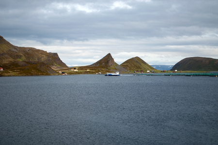 pisciculture: Fish farming at the the Porsangerfjord in North Norway.
