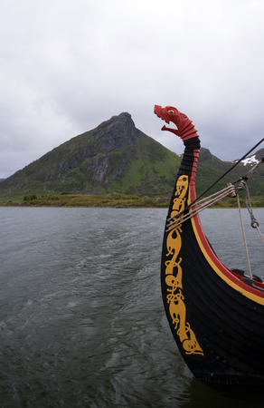 middle ages boat: Photo taken at the Viking Museum in Borg, Norway. Stock Photo