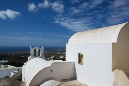 thira: Emporio is a village in the Cyclades. It is located on the main island Thira, or Thera, at Santorini, Greece Stock Photo