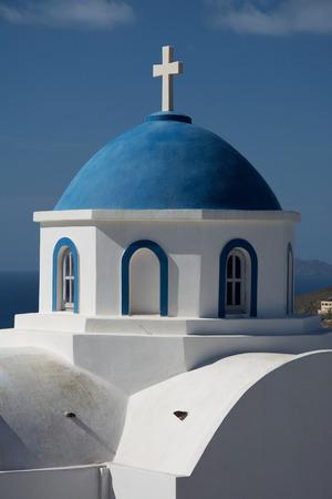 thera: Church at the main island Thira, or Thera, at Santorini, Greece.