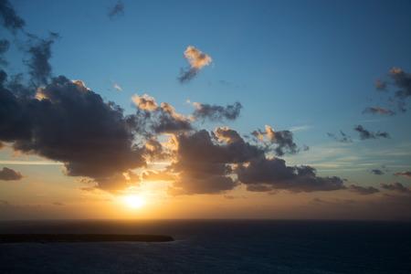 thira: Sunset at the main island Thira, or Thera, at Santorini, Greece. Stock Photo