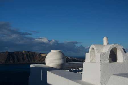 thira: Oia is a village in the Cyclades. It is located on the main island Thira, or Thera, at Santorini, Greece Stock Photo