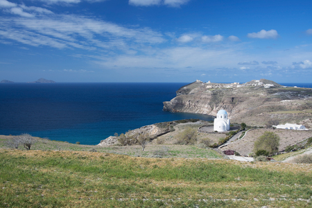 thera: Landscape at the main island Thira, or Thera, at Santorini, Greece. Stock Photo