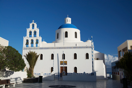 thira: Oia is a village in the Cyclades. It is located on the main island Thira, or Thera, at Santorini, Greece Editorial
