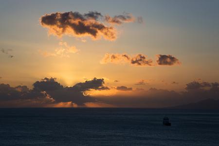 thera: Sunrise at the main island Thira, or Thera, at Santorini, Greece. Stock Photo