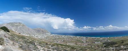 thira: Landscape at the main island Thira, or Thera, at Santorini, Greece. Stock Photo