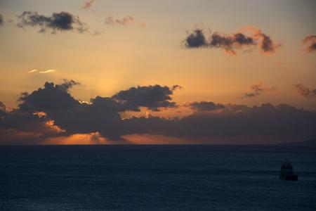 thira: Sunrise at the main island Thira, or Thera, at Santorini, Greece. Stock Photo