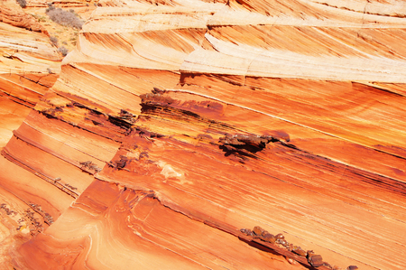 vermilion: The Wave in the Vermilion Cliffs National Monument,  a National Park located in Arizona in the United States.
