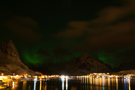 Northern light, photo taken at Reine at the Lofoten in February.